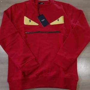 FENDI RED COTTON NEW MEN CASUAL SWEATSHIRT